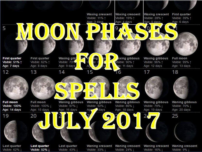 Time To Do Spells Rituals Magic With Moon Phases July 2017 Full Waxing Waning New Moons