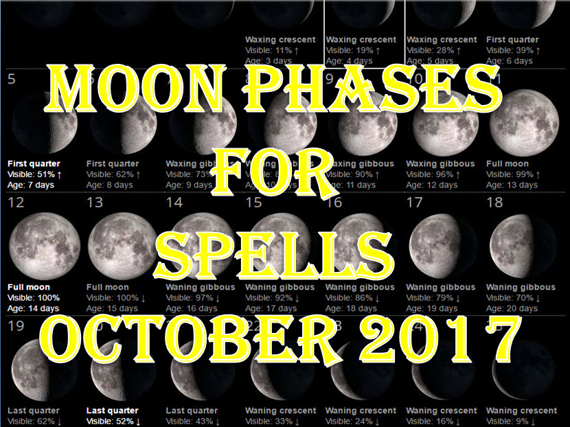 Time To Do Spells Rituals Magic With Moon Phases October 2017 Full Waxing Waning New Moons