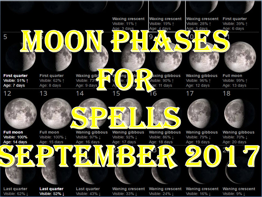 Time To Do Spells Rituals Magic With Moon Phases September 2017 Full Waxing Waning New Moons