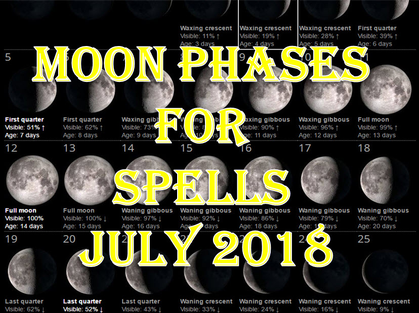 Time To Do Spells Rituals Magic With Moon Phases July 2018 Full Waxing Waning New Moons