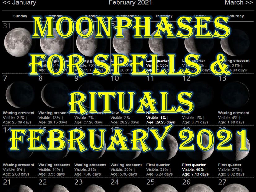 FEBRUARY 2021 MOON PHASES FOR SPELLS AND RITUALS FOR BEST RESULTS